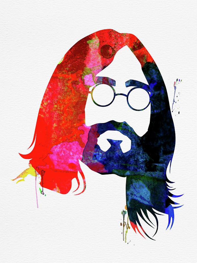John Lennon Mixed Media - John Watercolor by Naxart Studio