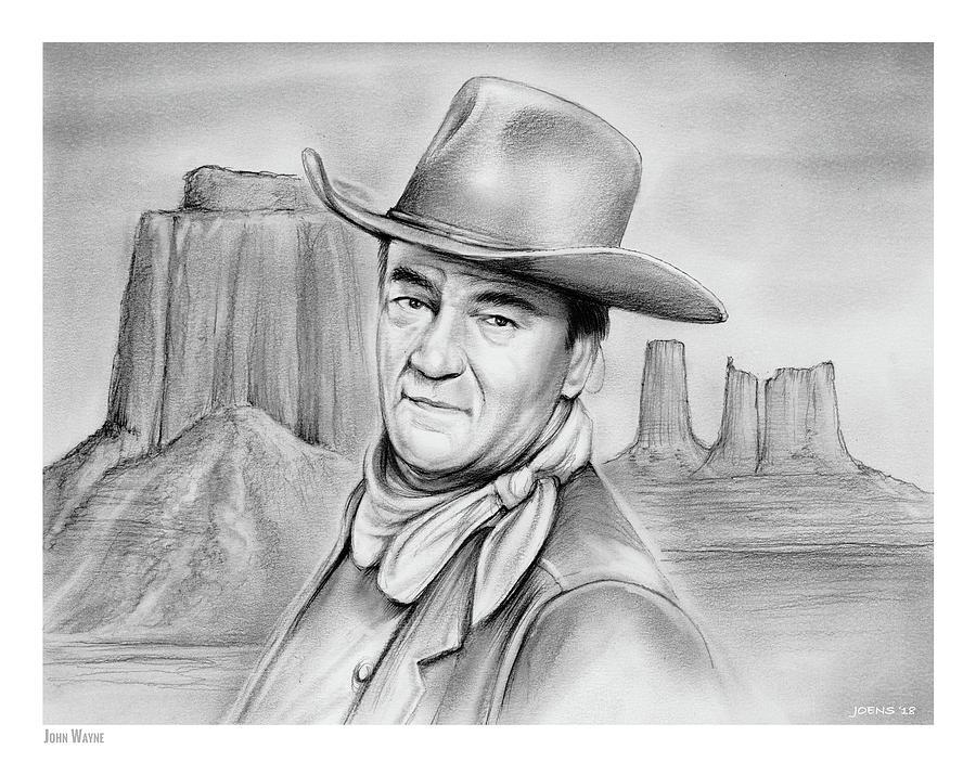 John Wayne Drawing - John Wayne 07oct18 by Greg Joens