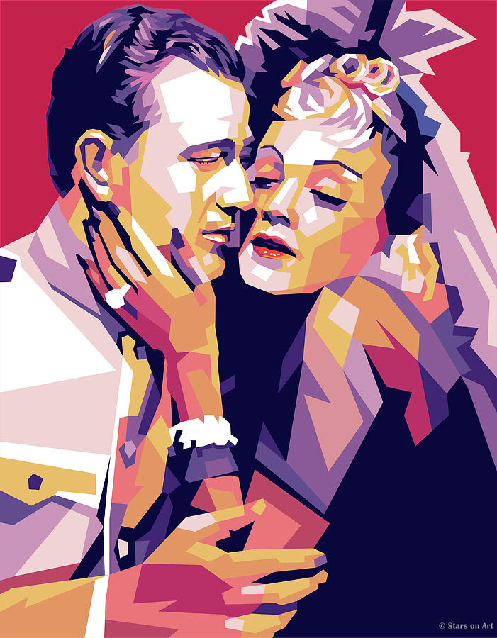 John Wayne And Marlene Dietrich Painting
