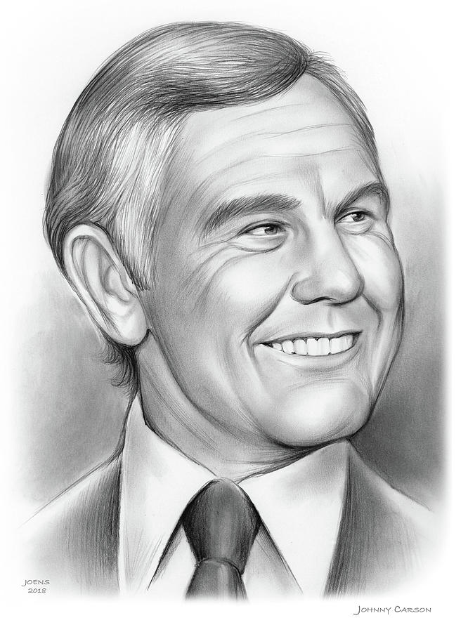 Johnny Carson Drawing - Johnny Carson 14sep18 by Greg Joens