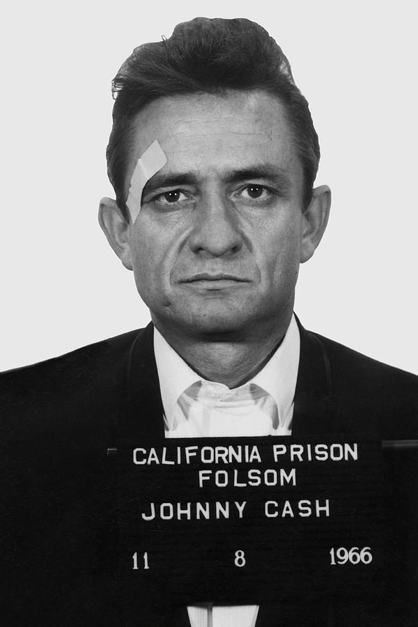 Cash Photograph - Johnny Cash Folsom Prison Mugshot 1966 - T-shirt by Daniel Hagerman