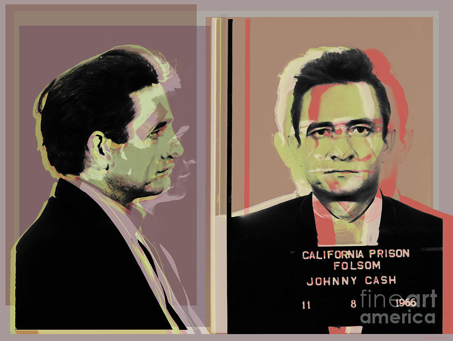 Johnny Cash mugshot Pop Art Warhol style by Jean luc Comperat
