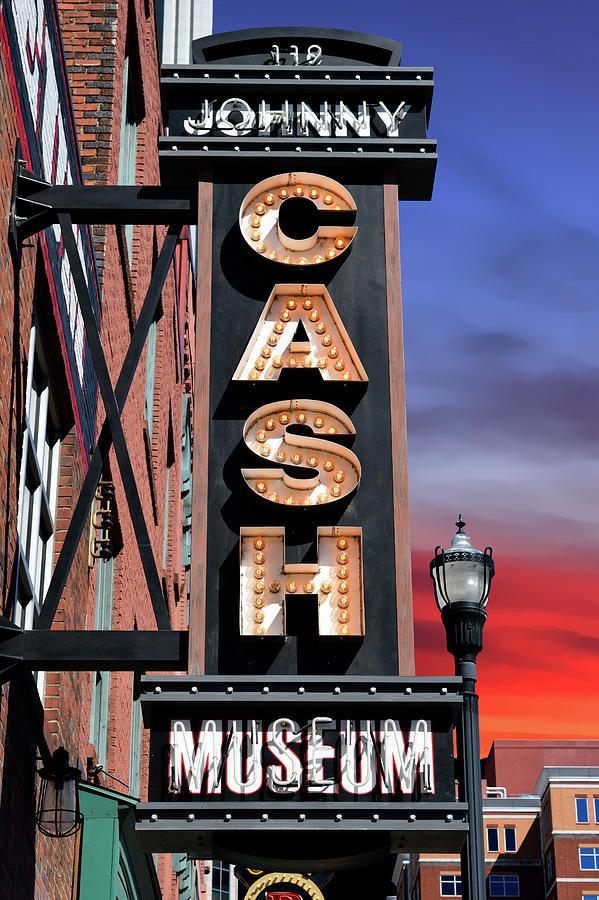 Cash Photograph - Johnny Cash Museum Sign - Nashville by Daniel Hagerman