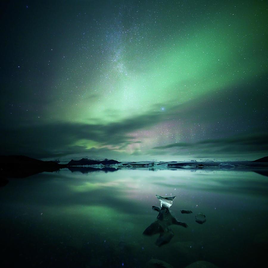 Jokulsarlon Aurora Photograph by Matteo Colombo