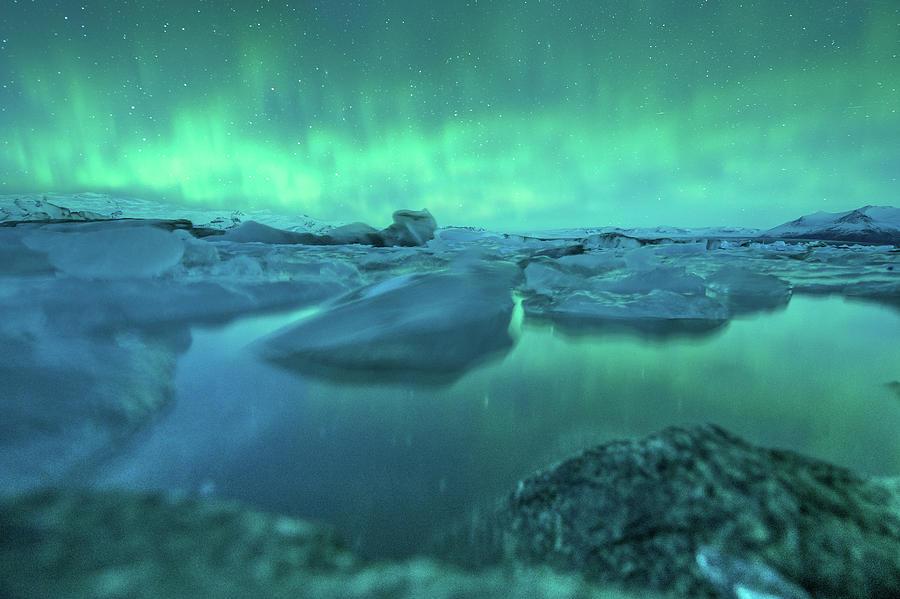 Jokusarlon Glacial Lake With Aurora Photograph by Coolbiere Photograph