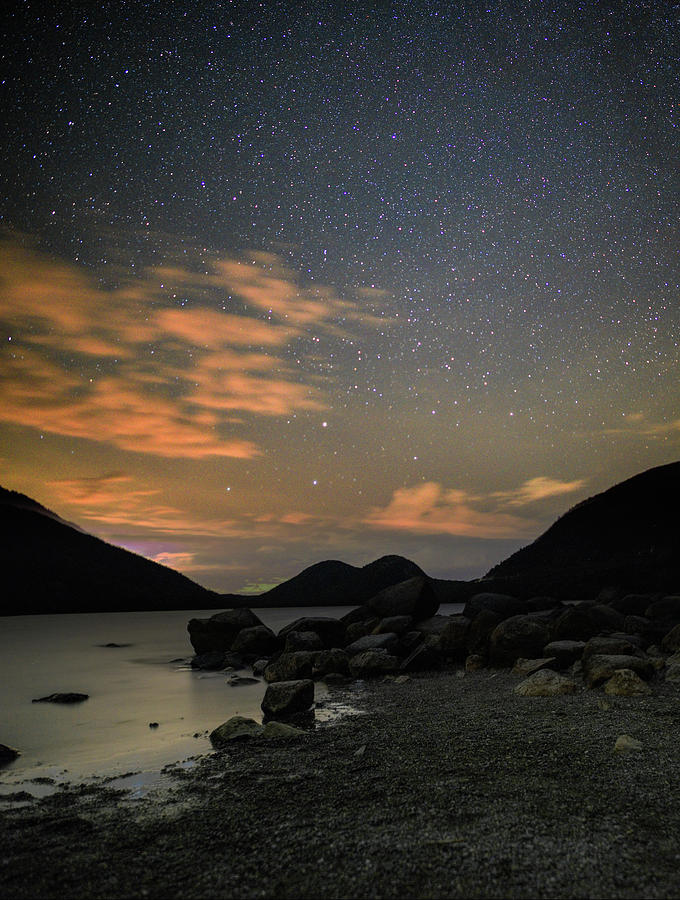 Jordan Pond and the Bubbles under the stars by Brent L Ander