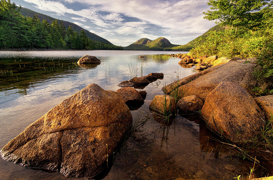 Scenic Photograph - Jordan Pond Rocks by Www.cfwphotography.com
