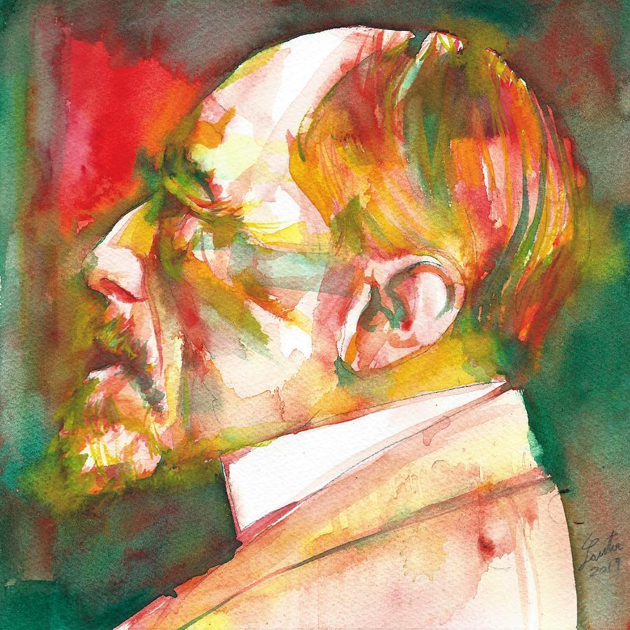 Conrad Painting - Joseph Conrad - Watercolor Portrait.3 by Fabrizio Cassetta