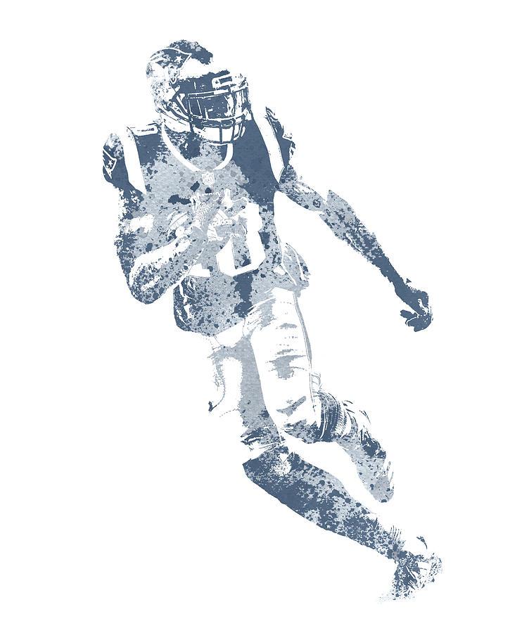 Josh Gordon Mixed Media - Josh Gordon New England Patriots Water Color Pixel Art 1 by Joe Hamilton