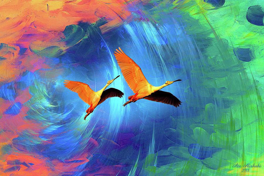 Birds Mixed Media - Journey Of Birds by Ata Alishahi