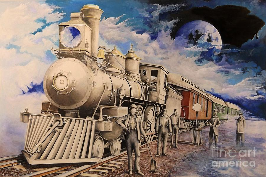 Train Drawing - Journey Through The Mists Of Time by David Neace