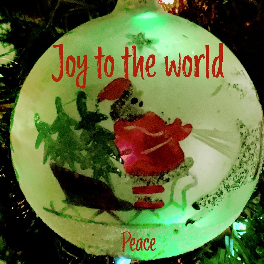 Joy to the World Old Santa Ornament by Debra Grace Addison