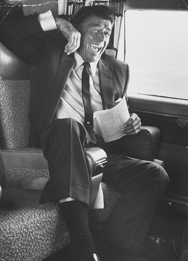 Jubilant Ronald Reagan Celebrating His Photograph by John Loengard
