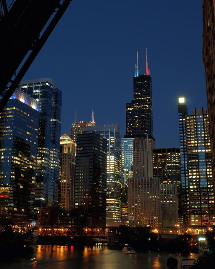 July Night Chicago River Skyline Photograph by Igermz