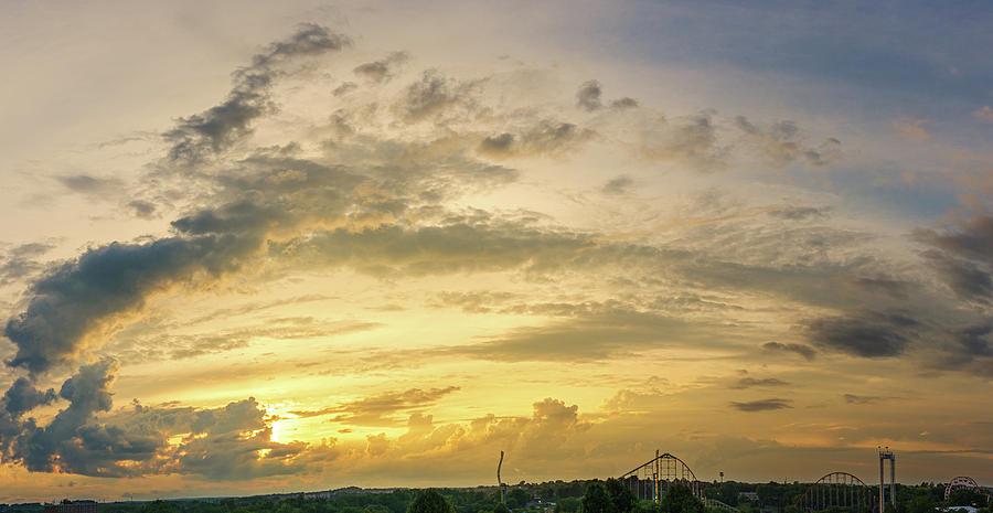 July Sunset Over an Amusement Park by Jason Fink