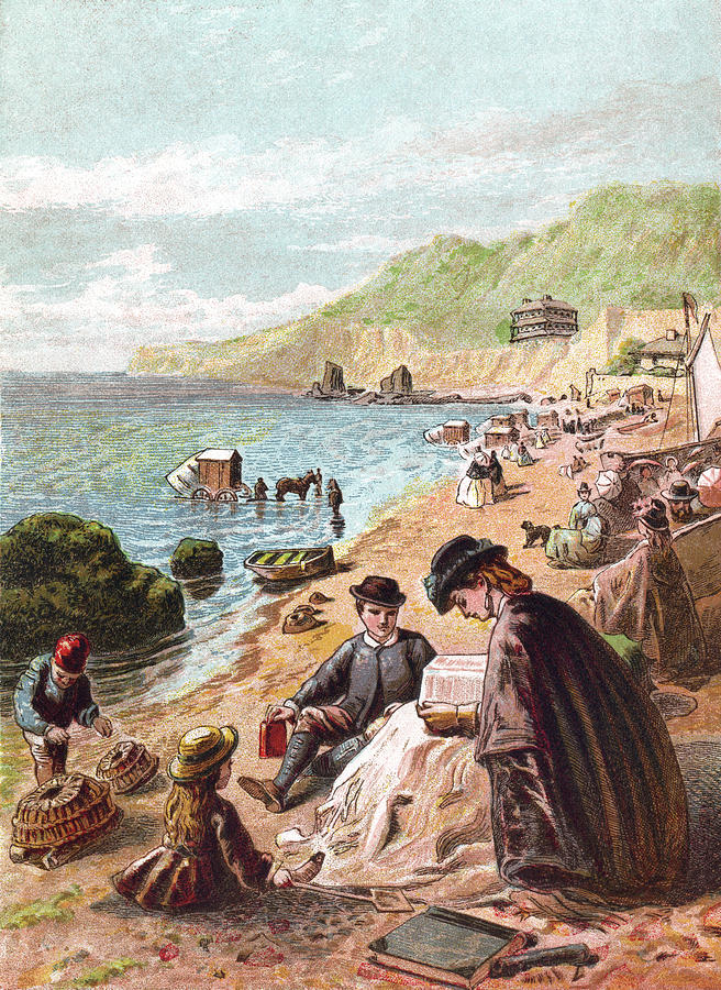 July - Victorians At The Seaside Digital Art by Whitemay
