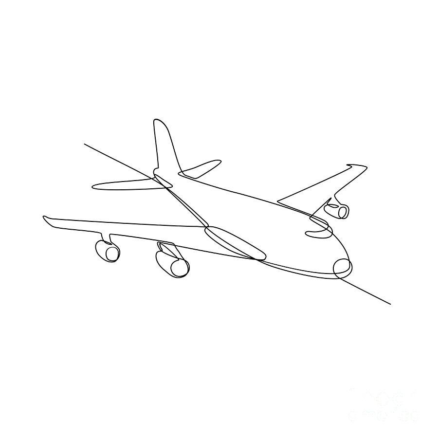 Continuous Line Digital Art - Jumbo Jet Plane Airliner Continuous Line by Aloysius Patrimonio