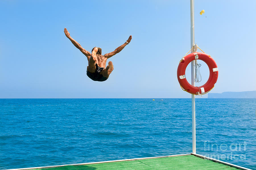 Muscular Photograph - Jump In The Blue Sea by Andrew Buckin