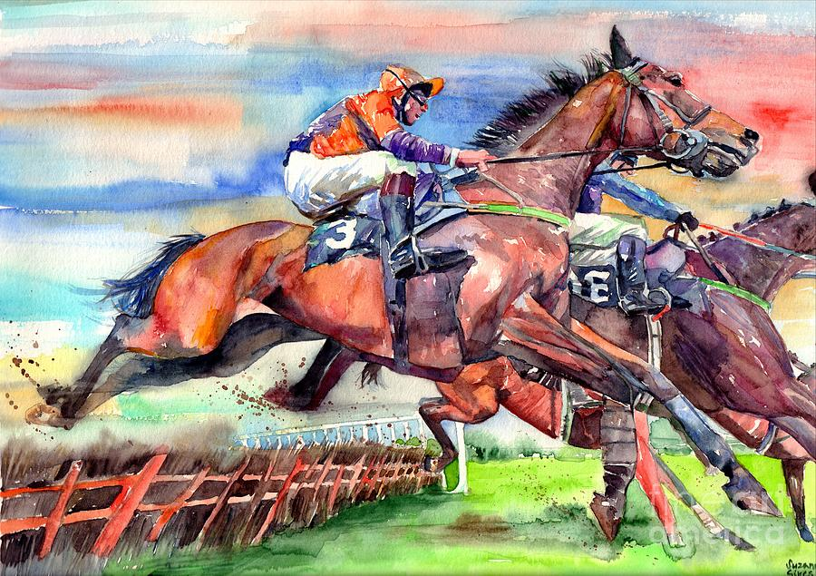Horse Painting - Jump Racing by Suzann Sines