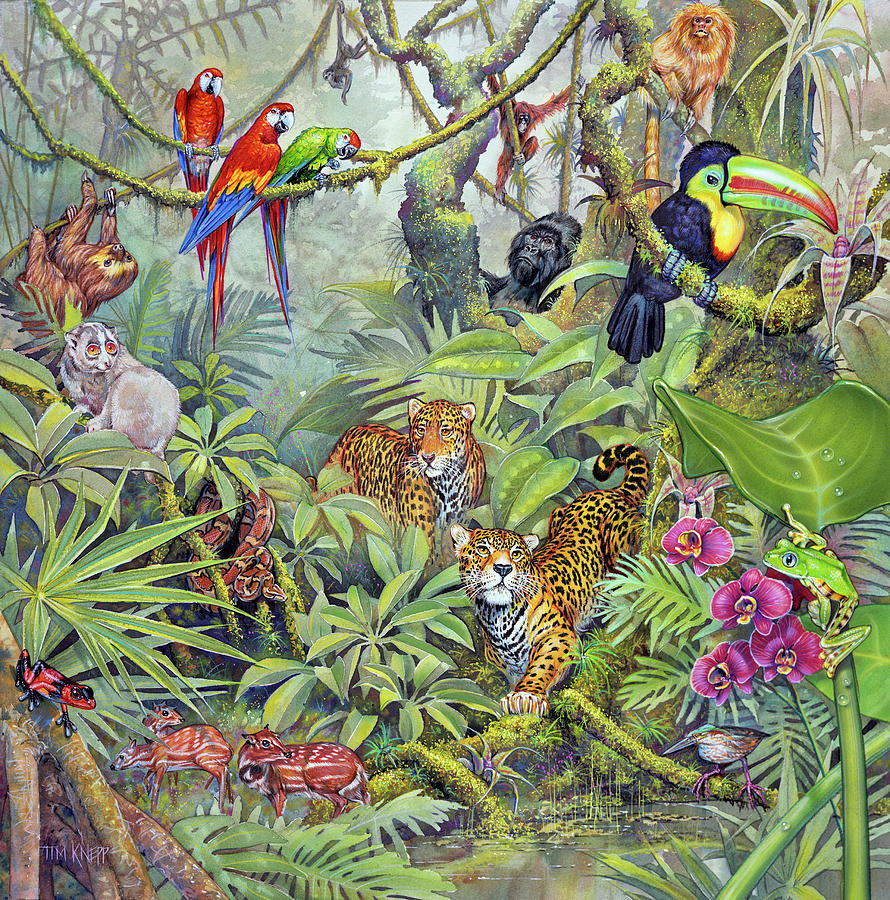 Leopards Painting - Jungle by Tim Knepp