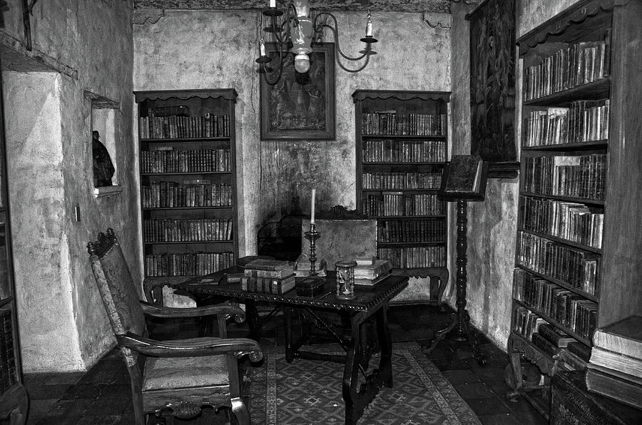 Junipero Serra's library in Carmel Mission BW by RicardMN Photography
