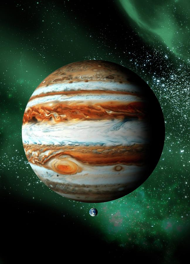 Jupiter And Earth, Artwork Digital Art by Science Photo Library - Victor Habbick Visions