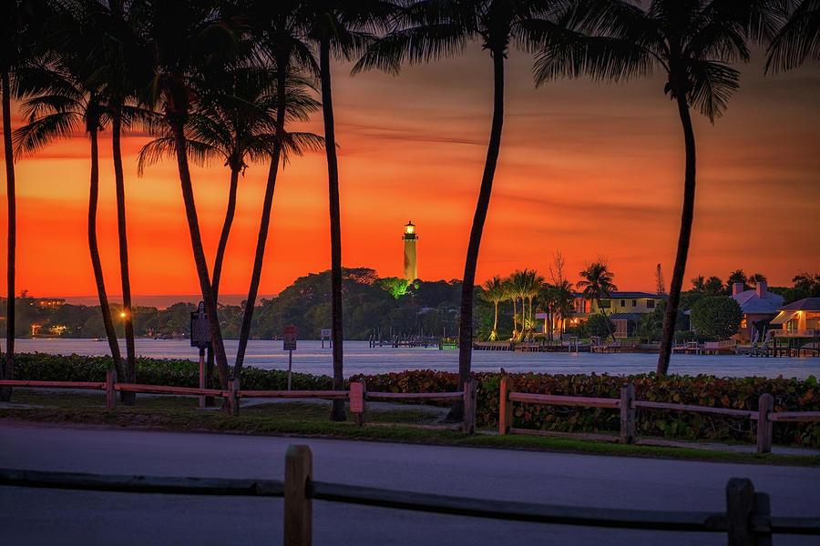 Jupiter Lighthouse Photograph - Jupiter Inlet Lighthouse and Museum Sunset Red Colors by Kim Seng