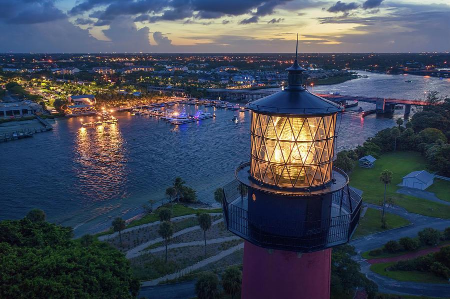 Jupiter Lighthouse Photograph - Jupiter Lighthouse Nightlife Waterway Aerial Photography by Kim Seng