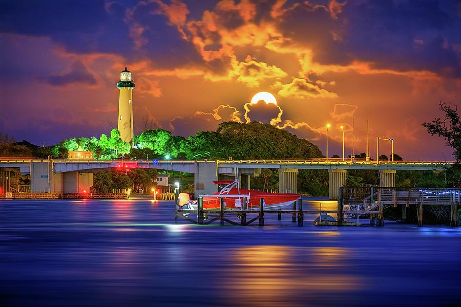 Jupiter Lighthouse Digital Art - Jupiter Lighthouse Purple Moon Rising Over the Waterway by Kim Seng