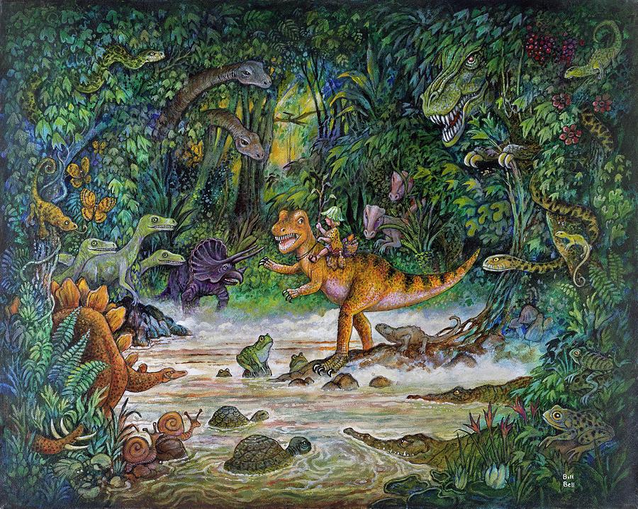 Dinosaurs Painting - Jurassic Jungle by Bill Bell