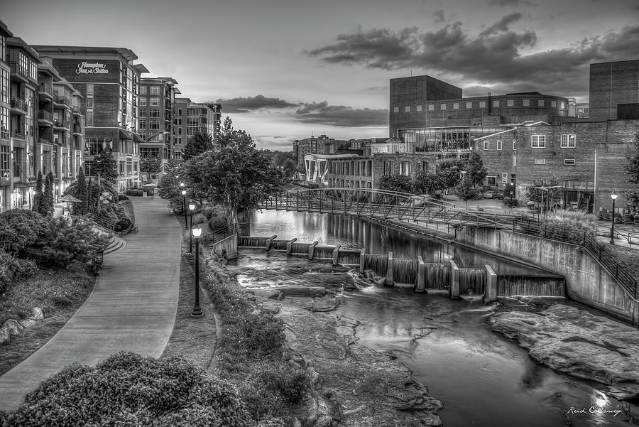 Just Before Sunset 7 B W Reedy River Falls Park Greenville South Carolina Art by Reid Callaway
