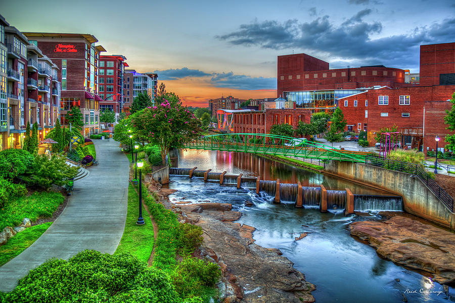 Just Before Sunset 7 Reedy River Falls Park Greenville South Carolina Art by Reid Callaway