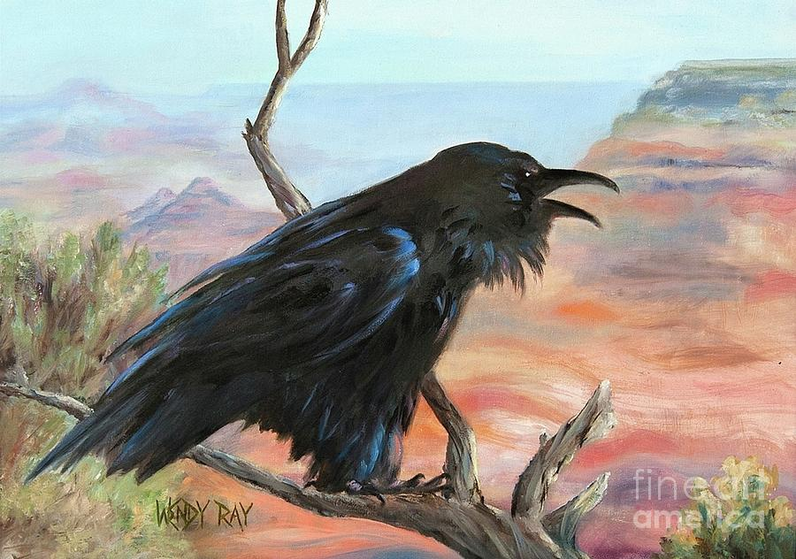 Raven Painting - Just Grand by Wendy Ray