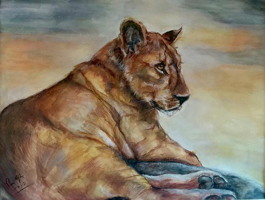 Panthera Leo Painting - Just warming up by Gea Van Eijk