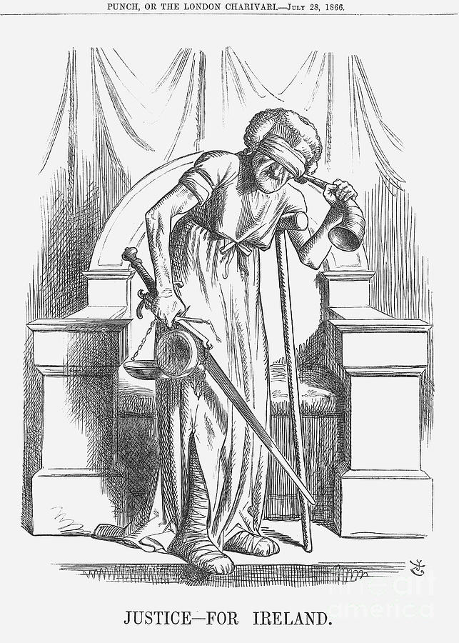 Justice - For Ireland, 1866. Artist Drawing by Print Collector