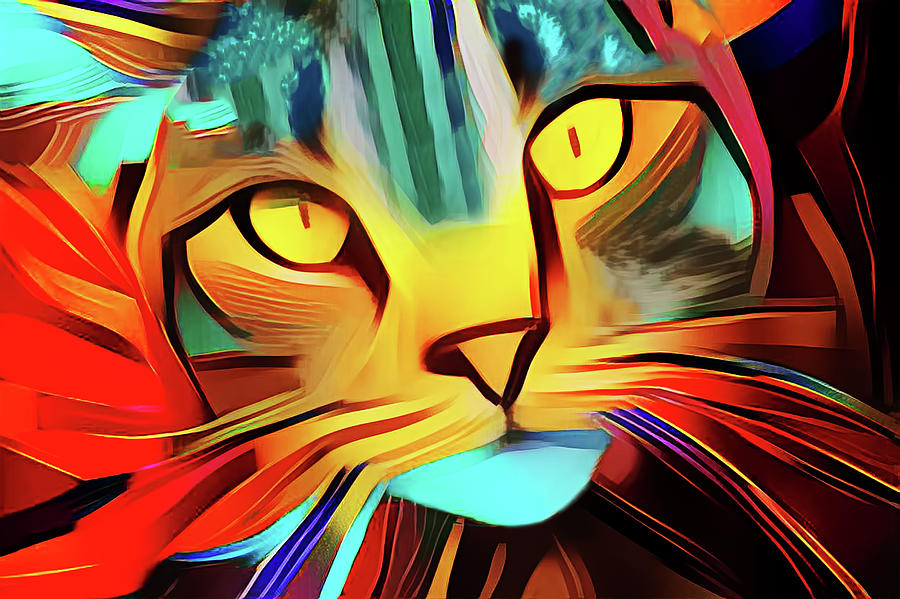 Colorful Modern Art Cat by Peggy Collins