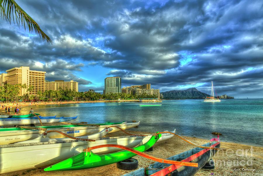 Kahanamoku Beach Sunset Waikiki Beach Diamond Head Honolulu Oahu Hawaii Art