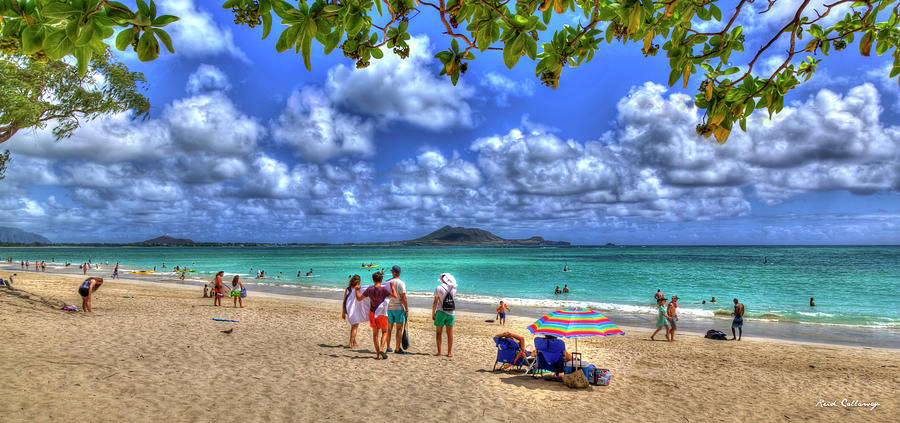 Kailua Beach Park Pu'uhalo Beach Oahu Hawaii Seascape Panorama Art by Reid Callaway