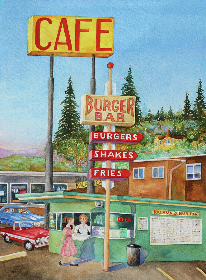 Town Painting - Kalama Burger Bar by Marie Wise