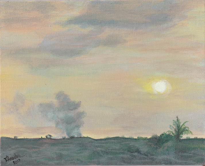 Lava Painting - Kalapana Sunset by Ted Coombs