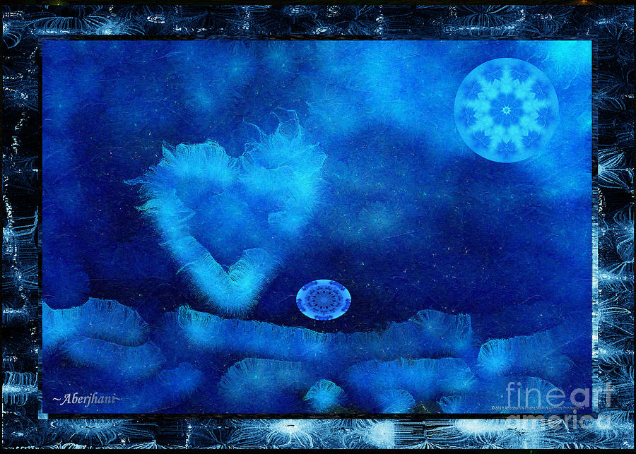 Moon Mixed Media - Kaleidoscope Moon for Children Gone Too Soon Number - 4 Cerulean Valentine  by Aberjhani