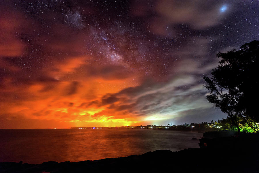 Kaloli Point Lava Glow and Milky Way by Jason Chu