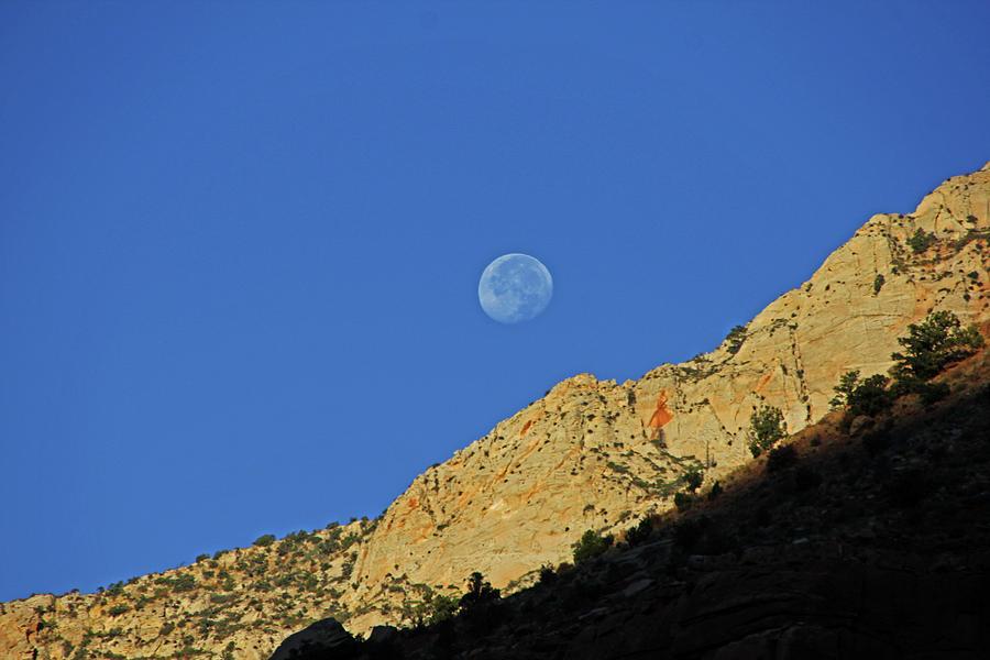 Kanab Sunrise Moon blue sky desert rock  Photograph by David Frederick