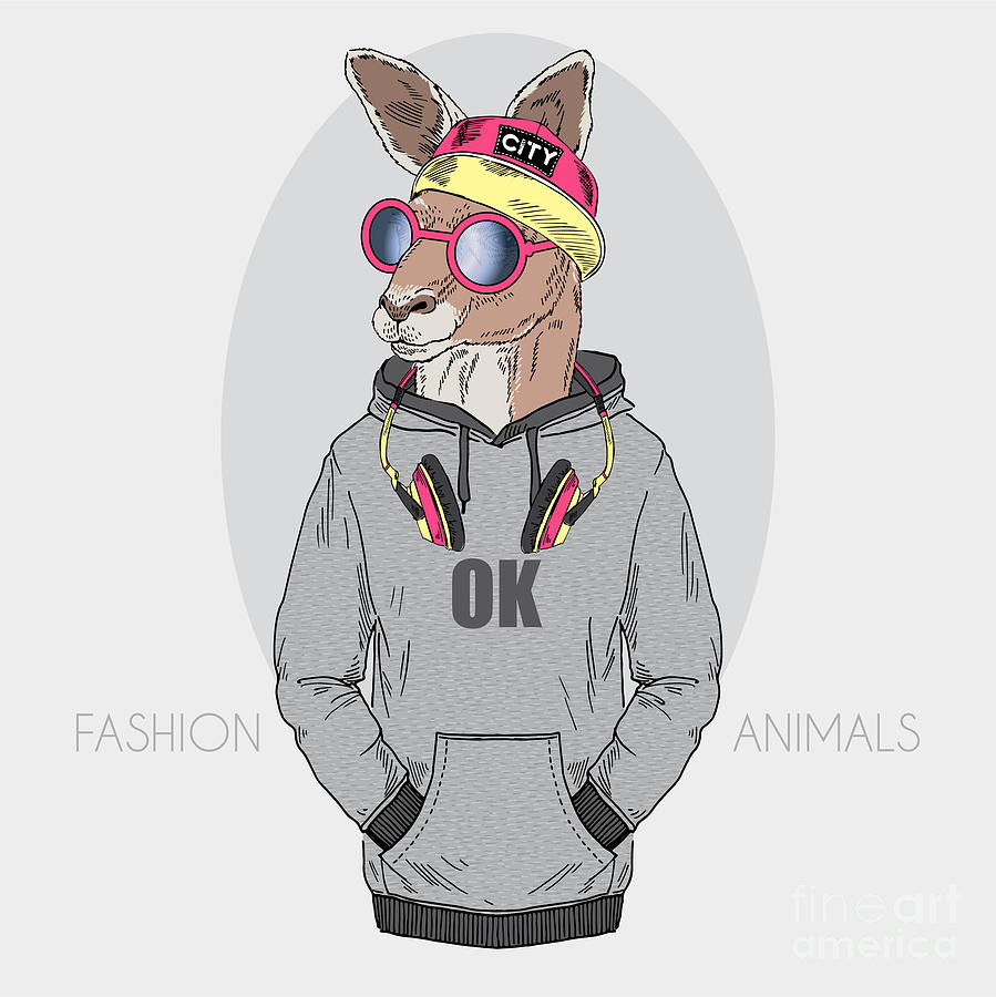 Fancy Digital Art - Kangaroo Boy Dressed Up In Urban Style by Olga angelloz