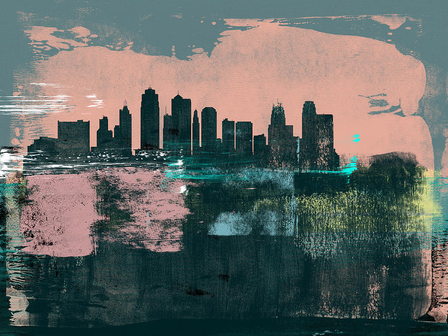 Kansas City Mixed Media - Kansas City Abstract Skyline I by Naxart Studio