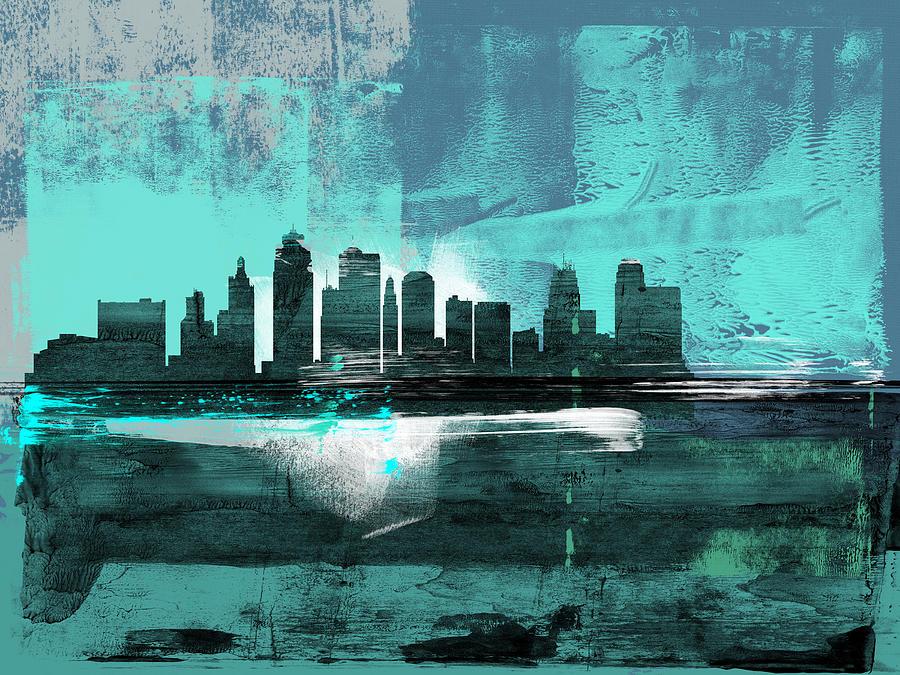 Kansas City Mixed Media - Kansas City Abstract Skyline II by Naxart Studio