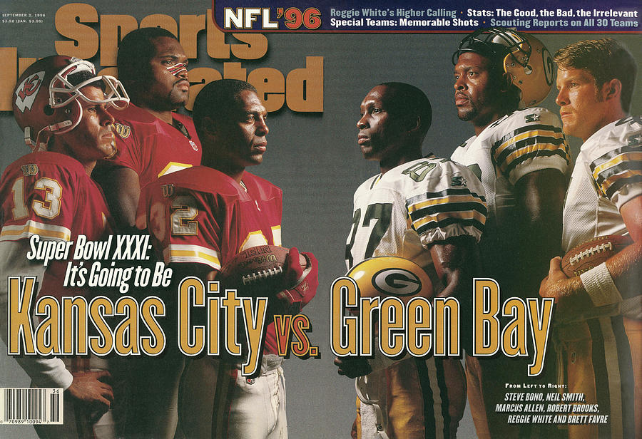 Kansas City Chiefs Vs Green Bay Packers, 1996 Nfl Football Sports Illustrated Cover Photograph by Sports Illustrated