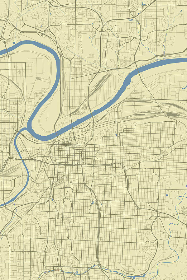 Kansas City Missouri Usa Classic Map