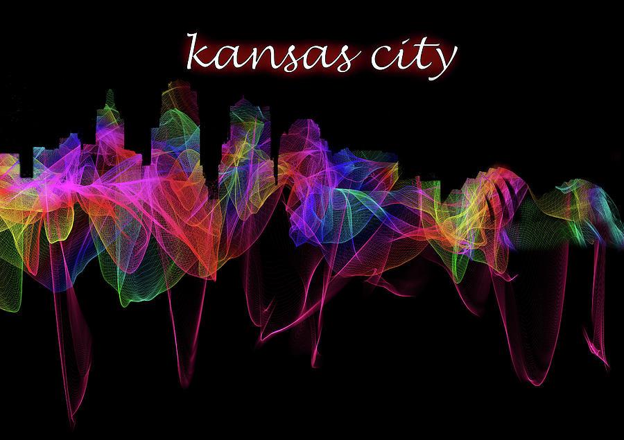 Kansas City Skyline Art with Script by Debra and Dave Vanderlaan