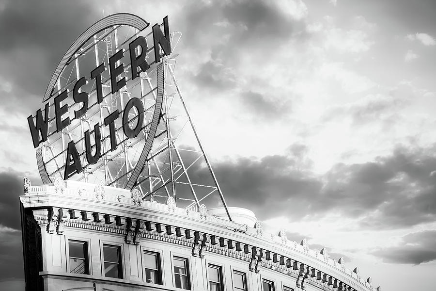 Kansas City Western Auto Neon Sign Black And White Photograph